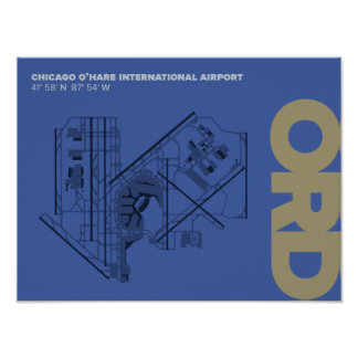 Chicago O'Hare Airport (ORD) Diagram Poster