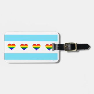 Chicago Pride Rainbow Hearts Flag Luggage Tag