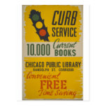 Chicago Public Library Curb Service Poster Postcards