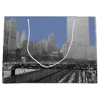 Chicago Rail Yards Loop Railroad 1960's Photo Large Gift Bag