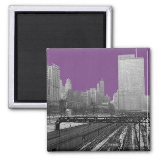 Chicago Rail Yards Loop Railroad 1960's Photo Magnet
