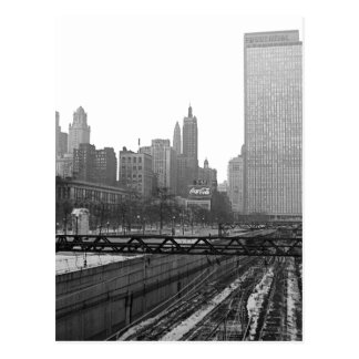 Chicago Rail Yards Michigan Avenue 1960's Photo Postcard