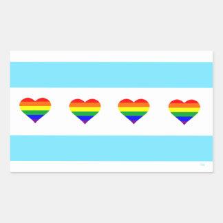 Chicago Rainbow Heart Flag Sticker
