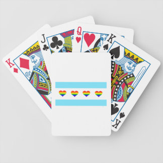 Chicago Rainbow Hearts Flag Bicycle Playing Cards