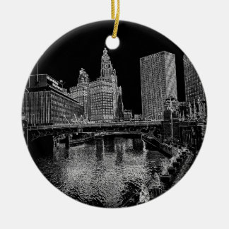 Chicago River 1967 Wrigley Building Sun Times Bldg Ceramic Ornament