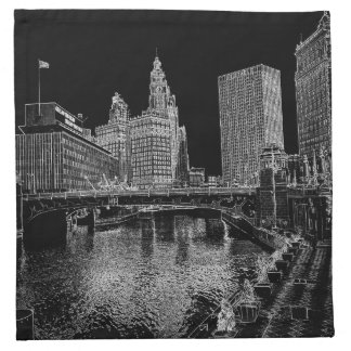 Chicago River 1967 Wrigley Building Sun Times Bldg Napkin