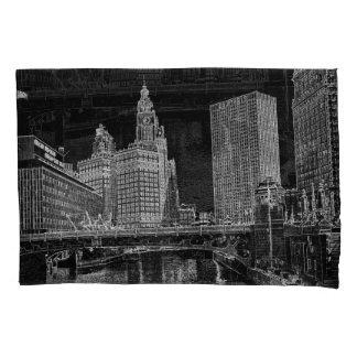 Chicago River 1967 Wrigley Building Sun Times Bldg Pillowcase