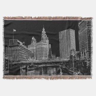 Chicago River 1967 Wrigley Building Sun Times Bldg Throw Blanket