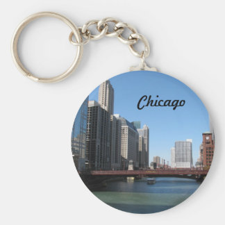 Chicago River Basic Round Button Keychain