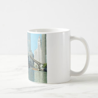 Chicago River Columbus Drive Boat Scene Coffee Mug