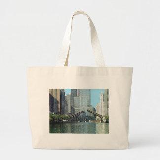 Chicago River Columbus Drive Boat Scene Jumbo Tote Bag