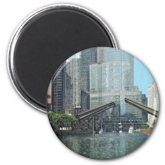 Chicago River Columbus Drive Boat Scene Magnet