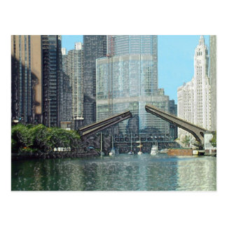 Chicago River Columbus Drive Boat Scene Postcard