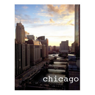 Chicago River View from Marina City Postcards