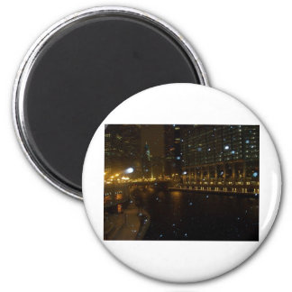 Chicago River walk along Michigan Ave. 2 Inch Round Magnet