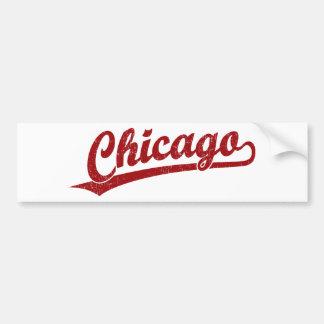 Chicago script logo in red bumper sticker