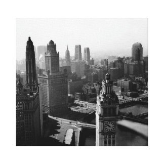 Chicago Skyline1930's from Above view Photograph Canvas Print