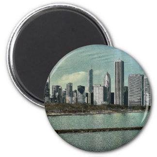 Chicago Skyline 2 Inch Round Magnet