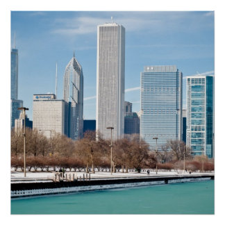 Chicago skyline across frozen Lake Michigan Poster