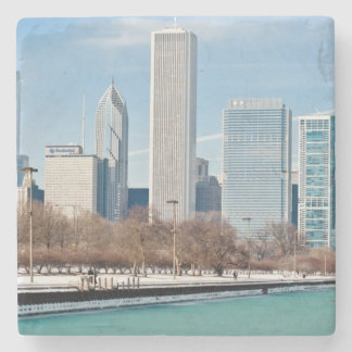 Chicago skyline across frozen Lake Michigan Stone Coaster