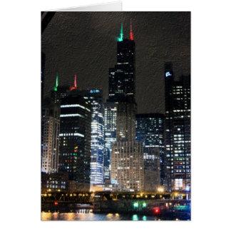 Chicago Skyline at Christmans Card