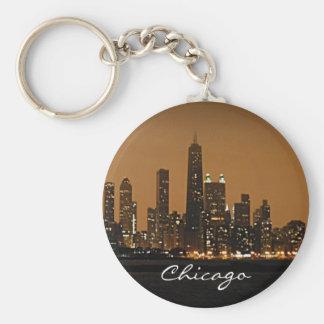 Chicago Skyline at night at John Hancock Center Keychain