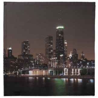 Chicago Skyline at Night Napkin