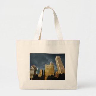 Chicago Skyline Before A Storm Large Tote Bag
