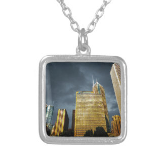 Chicago Skyline Before A Storm Silver Plated Necklace