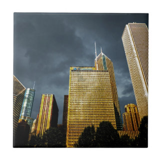 Chicago Skyline Before A Storm Tile
