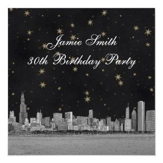 Chicago Skyline Black Gold Star Birthday Party Card