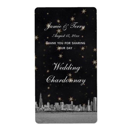 Chicago Skyline Black Gold Star Wine Label Shipping Label