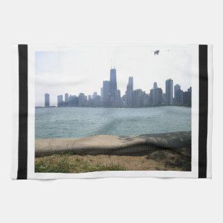 Chicago Skyline Bordered Kitchen Towel