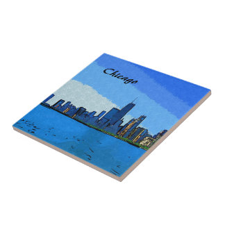 Chicago Skyline Collage Paint Tiles