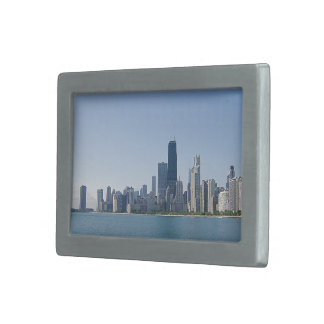 Chicago Skyline Deeper Blue Photo Rectangular Belt Buckles