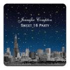 Chicago Skyline Etch Blue Starry SQ Sweet 16 Card