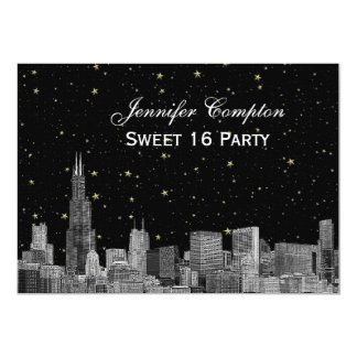 Chicago Skyline Etch Starry DIY BG SQ Sweet 16 H Card
