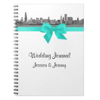 Chicago Skyline Etchd BW Aqua Notebook Journal