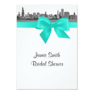 Chicago Skyline Etched BW Aqua Bridal Shower S Card