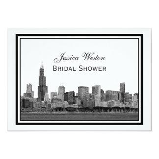 Chicago Skyline Etched Framed #2 H Bridal Shower Card