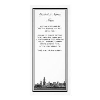 Chicago Skyline Etched Framed Menu Card Custom Rack Cards