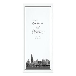 Chicago Skyline Etched Framed Wedding Program Menu