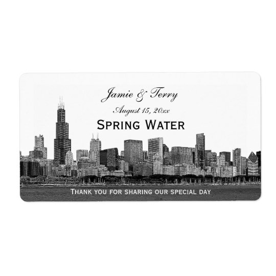 Chicago Skyline Etched H Water Bottle