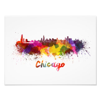Chicago skyline in watercolor art photo