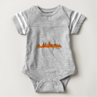 Chicago skyline in watercolor Cityscape Baby Bodysuit