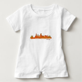 Chicago skyline in watercolor Cityscape Baby Romper