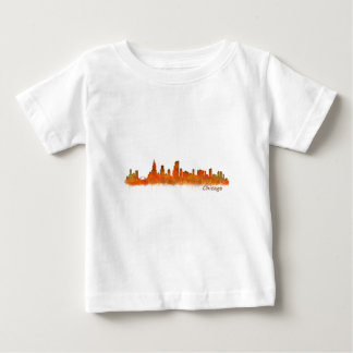 Chicago skyline in watercolor Cityscape Baby T-Shirt