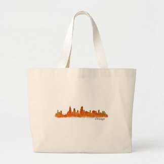 Chicago skyline in watercolor Cityscape Large Tote Bag