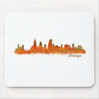 Chicago skyline in watercolor Cityscape Mouse Pad