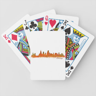 Chicago skyline in watercolor Cityscape Poker Deck